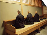 Monks During Za-Zen Meditation in the Zazen Hall, Elheiji Zen Monastery, Japan Print by Ursula Gahwiler