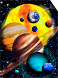 Planets & Their Relative Sizes Prints by Victor Habbick