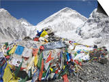 Prayer Flags at the Everest Base Camp Sign, Sagarmatha National Park, Himalayas Print by Christian Kober
