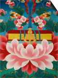 Painting of Lotus Flower, Sword of Knowledge and Sacred Text, Kopan Monastery, Kathmandu Print by  Godong