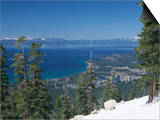 Lake Tahoe and Town on California and Nevada State Line, USA Prints by Adam Swaine