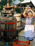A Local Winemaker Pressing Her Grapes at the Cantina, Torano Nuovo, Abruzzi, Italy Posters by Michael Newton
