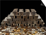 Stack of Sliver Ingots And Pile of Coins Poster