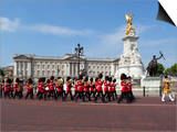 Band of the Coldstream Guards Marching Past Buckingham Palace During the Rehearsal for Trooping the Poster by Stuart Black