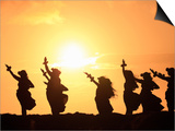 Silhouette of Hula Dancers at Sunrise, Molokai, Hawaii, USA Art
