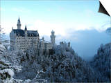 Neuschwanstein Castle in Winter, Schwangau, Allgau, Bavaria, Germany, Europe Art by Hans-Peter Merten