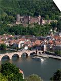 Old Bridge over the River Neckar, Old Town and Castle, Heidelberg, Baden-Wurttemberg, Germany, Euro Prints by Hans-Peter Merten