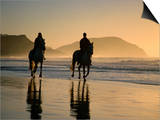 Horse Riding on the Beach at Sunrise, Gisborne, East Coast, North Island, New Zealand, Pacific Print by D H Webster