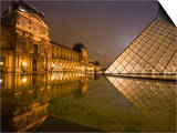 Palais Du Louvre Pyramid at Night, Paris, France, Europe Prints by Marco Cristofori