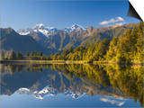 Lake Matheson, Mount Tasman and Mount Cook, Westland, South Island, New Zealand, Pacific Prints by Schlenker Jochen