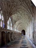 Interior of Cloisters with Fan Vaulting, Gloucester Cathedral, Gloucestershire, England, UK Prints by Nick Servian