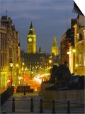 Evening View from Trafalgar Square Down Whitehall with Big Ben in the Background, London, England Print by Roy Rainford