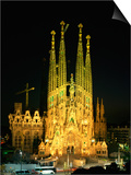 Sagrada Familia, the Gaudi Cathedral, Illuminated at Night in Barcelona, Cataluna, Spain Print by Nigel Francis