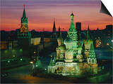 Sunset Over Red Square, the Kremlin, Moscow, Russia Prints by D H Webster