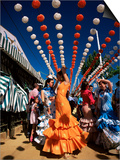 Girls Dancing a Sevillana Beneath Colourful Lanterns, Feria De Abril, Seville, Andalucia, Spain Prints by Ruth Tomlinson