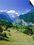 View Over Lauterbrunnen from Wengen, Bernese Oberland, Swiss Alps, Switzerland, Europe Posters by Simon Harris
