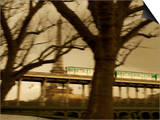 Eiffel Tower and Metro Train on Pont De Bir-Hakeim, Paris, France, Europe Art