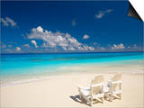 Two Deck Chairs on Tropical Beach Facing Sea, Maldives, Indian Ocean Prints by Papadopoulos Sakis