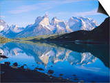 Chile, Patagonia, Torres Del Paine National Park, Cuernos Del Paine (2,600M) from Lago Pehoe Poster by Geoff Renner