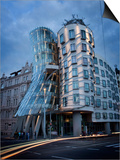 Dancing House (Fred and Ginger Building), by Frank Gehry, at Dusk, Prague, Czech Republic Prints by Nick Servian