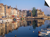 Reflections of Houses and Boats in the Old Harbour at Honfleur, Basse Normandie, France, Europe Prints by Richard Ashworth