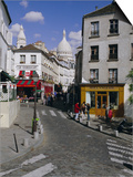 Street Scene and the Dome of the Basilica of Sacre Coeur, Montmartre, Paris, France, Europe Prints by Gavin Hellier