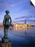 Statue and City Skyline, Stockholm, Sweden, Scandinavia, Europe Poster by Sylvain Grandadam