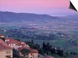 View from the Medieval Town of Cortona Towards Lago Trasimeno, at Sunset, Cortona, Tuscany, Italy Art by Patrick Dieudonne