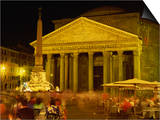 Pantheon Illuminated at Night in Rome, Lazio, Italy, Europe Affiches par Rainford Roy