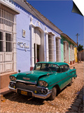 American Oldtimer in the Cobbled Streets of Trinidad, Cuba, West Indies, Caribbean, Central America Prints