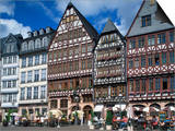 Street Scene with Pavement Cafes, Bars and Timbered Houses in the Romer Area of Frankfurt, Germany Prints by Tovy Adina