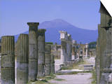 Mount Vesuvius Seen from the Ruins of Pompeii, Campania, Italy Art by Anthony Waltham