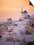 Oia (Ia) Village and Windmill, Santorini, Cyclades, Greek Islands, Greece, Europe Print