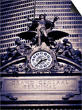 Statue of Mercury and Clock on the 42nd Street Facade of Grand Central Terminus Station, Manhattan, Posters by Gavin Hellier