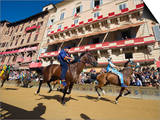 Riders Racing at El Palio Horse Race Festival, Piazza Del Campo, Siena, Tuscany, Italy, Europe Posters by Christian Kober