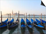 Gondolas on the Lagoon, San Giorgio Maggiore in the Distance, Venice, Veneto, Italy Posters by Amanda Hall