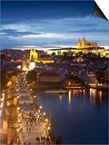 St Vitus Cathedral, Charles Bridge, River Vltava, UNESCO World Heritage Site, Prague Czech Republic Print by Gavin Hellier