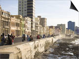 View Along the Malecon, People Sitting on the Seawall Enjoying the Evening Sunshine, Havana, Cuba Posters by Lee Frost