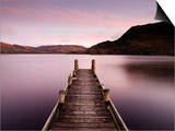 Jetty on Ullswater at Dawn, Glenridding Village, Lake District National Park, Cumbria, England, Uk Posters by Lee Frost