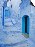 Blue Painted Doorways and Steps, Chefchaouen, Morocco, North Africa, Africa Reprodukce
