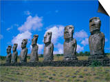 Ahu Akiui, Easter Island, Chile, Pacific Prints by Geoff Renner