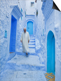 Man in Traditional Moroccan Clothes Walking Down Painted Blue and Steps, Chefchaouen, Morocco Prints by Guy Edwardes