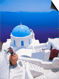 Church Overlooking Sea, Santorini, Cyclades, Greek Islands, Greece, Europe Art by Papadopoulos Sakis