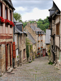 Ancient Cobbled Street and Houses, Rue Du Petit Fort, Dinan, Cotes-D'Armor, Brittany Prints by Peter Richardson