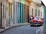 Colourful Street With Traditional Old American Car Parked, Old Havana, Cuba, West Indies, Caribbean Prints by Martin Child