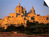 St. Paul's Cathedral and City Walls, Mdina, Malta, Mediterranean, Europe Prints by Stuart Black