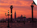 View across St. Marks Square Towards San Giorgio Maggiore at Sunrise, Venice, Veneto, Italy Poster by Lee Frost