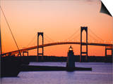 Newport Bridge and Harbor at Sunset, Newport, Rhode Island, USA Posters by Fraser Hall