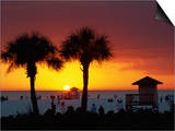 Sunset from Siesta Beach, Siesta Key, Sarasota, Florida, United States of America, North America Print by Tomlinson Ruth