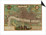 Ancient Map of London 1572 Print